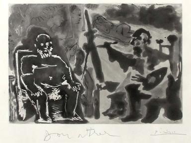 Peintre Avec Modèle Barbu Assis Sur Une Chaise by Pablo Picasso