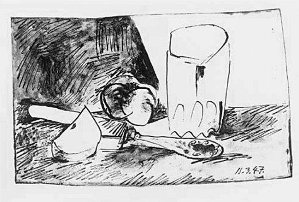 Pommes, Verre Et Couteau by Pablo Picasso