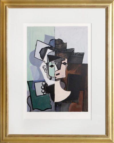 Portrait De Face Sur Fond Rose Et Vert by Pablo Picasso