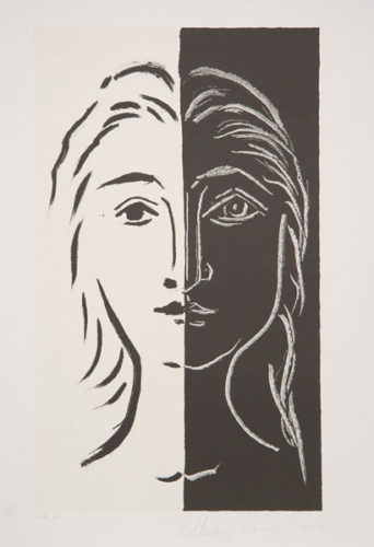 Portrait En Deux Parties Noire Et Blanche by Pablo Picasso at