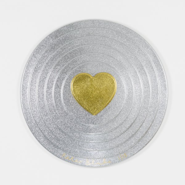 Gold Heart On Silver Target (metal Flake) by Peter Blake