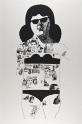 Tattooed Lady (black) by Peter Blake at