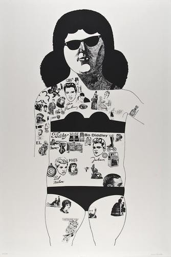 Tattooed Lady (black) by Peter Blake