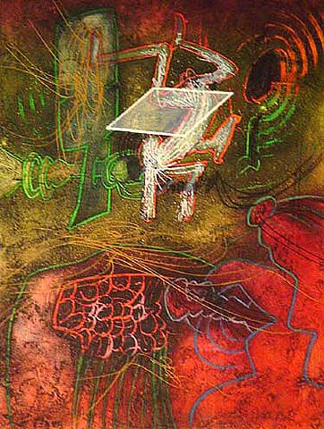 Damne Par L'arc-en-ciel (plate 5) From The Saison En Enfer Portfolio by Roberto Matta at