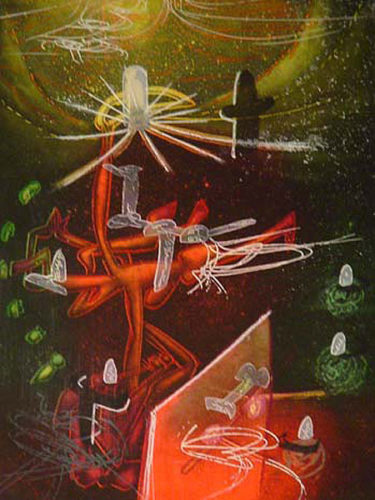 Je Fixe Des Vertiges (plate 1) From The Saison En Enfer Portfolio by Roberto Matta at