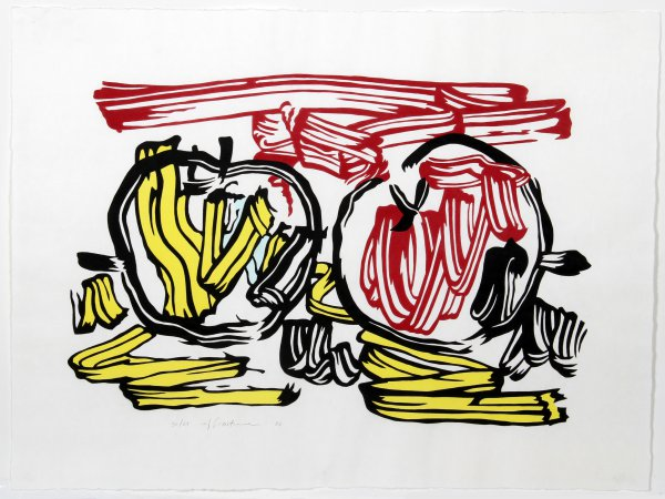 Red Apple And Yellow Apple From Seven Apple Woodcu by Roy Lichtenstein