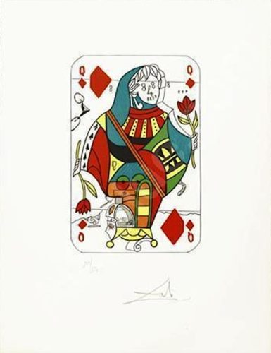 Queen Of Diamonds From Playing Cards by Salvador Dali at