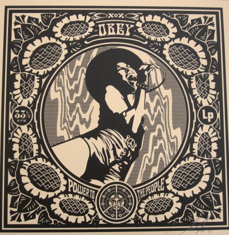 Black Flower Power by Shepard Fairey