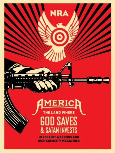 God Saves & Satan Invests by Shepard Fairey
