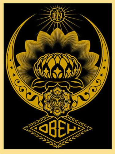Lotus Ornament Gold by Shepard Fairey