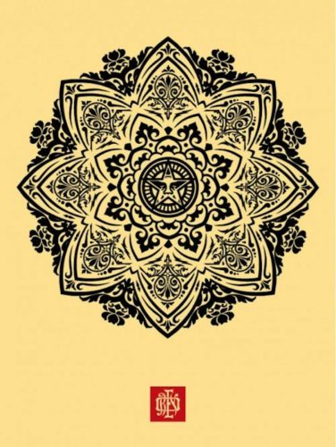 Mandala Ornament 1 Cream by Shepard Fairey