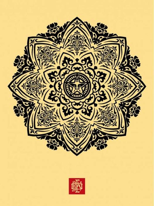 Mandala Ornament 1 Cream by Shepard Fairey