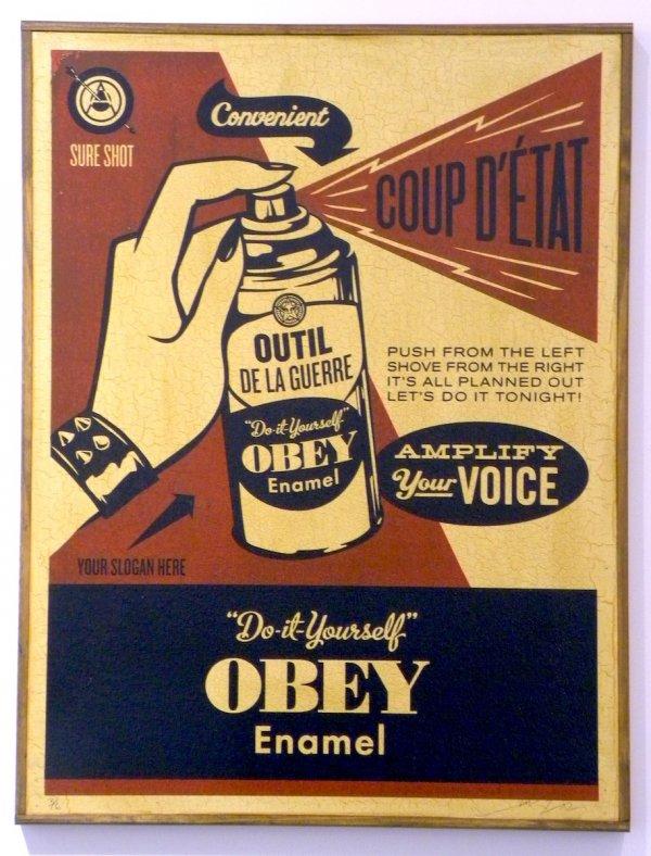 Obey Coup D' Etat (on Wood) by Shepard Fairey