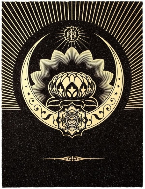 Obey Lotus Crescent (black / Gold) by Shepard Fairey