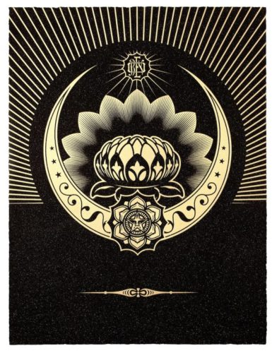Obey Lotus Crescent (black & Gold) by Shepard Fairey at