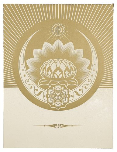 Obey Lotus Crescent (white & Gold) by Shepard Fairey at