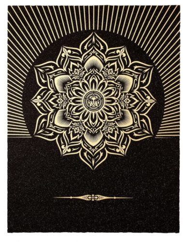 Obey Lotus Diamond (black & Gold) by Shepard Fairey at