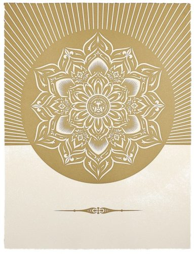 Oby Lotus Diamond (white & Gold) by Shepard Fairey at