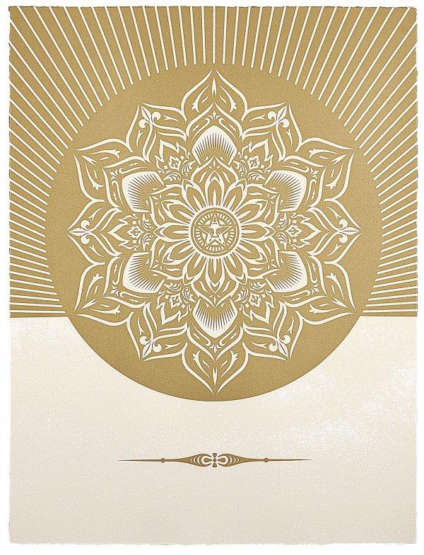 Oby Lotus Diamond (white & Gold) by Shepard Fairey