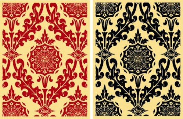 Parlor Patten Cream/ Red & Cream/black (set Of 2) by Shepard Fairey