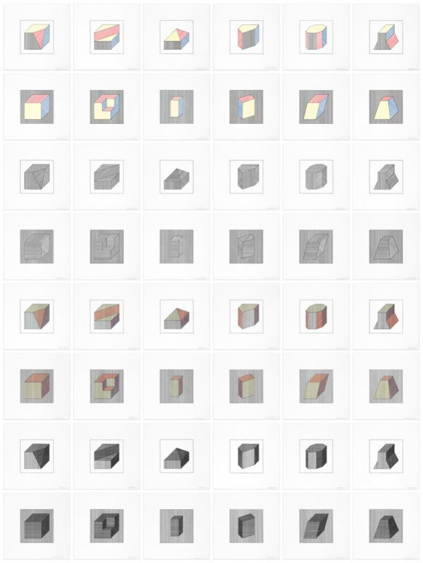 Twelve Forms Derived From A Cube by Sol LeWitt