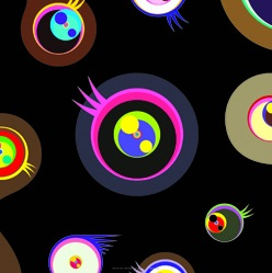 Jellyfish Eyes Black 1 by Takashi Murakami at