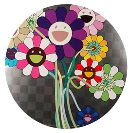 Purple Flowers In A Bouquet by Takashi Murakami
