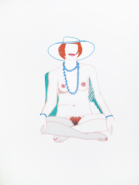 Monica Cross-legged With Beads by Tom Wesselmann