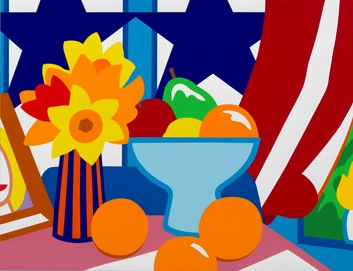 Still Life With Blowing Curtain (red) by Tom Wesselmann