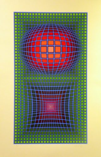 Composition In Green, Red And Violet by Victor Vasarely