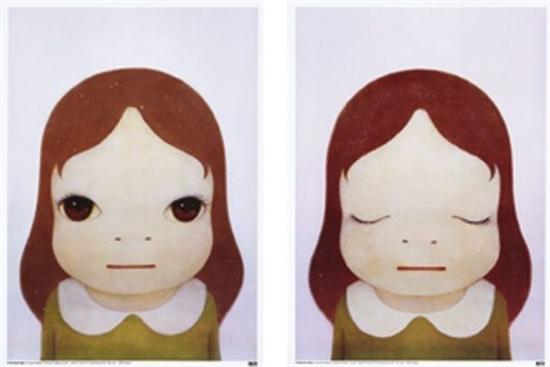 Cosmic Girls (open Eyes / Closed Eyes) Set Of 2 Works by Yoshitomo Nara