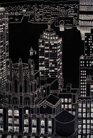 Lights And Towers by Yvonne Jacquette at