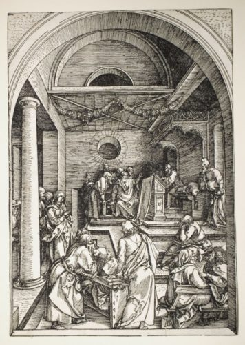 Twelve Year Old Jesus In The Temple (trial Proof) by Albrecht Durer at