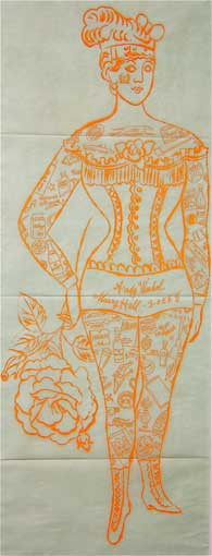 Tattooed Woman Holding Rose by Andy Warhol