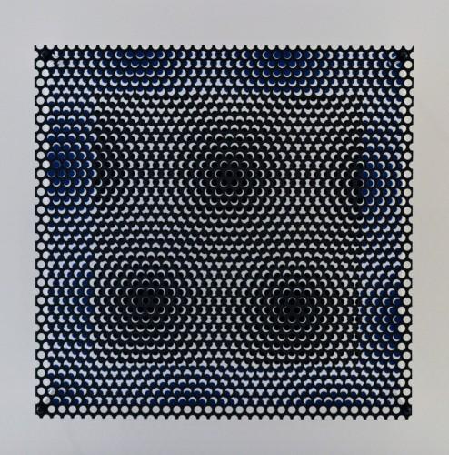 Vibration Carré Noir Et Bleu by Antonio Asis