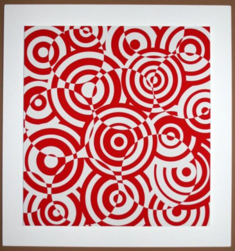 Interferences Cercles Rouge Et Blanc by Antonio Asis