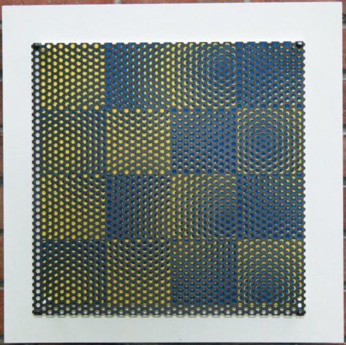 Vibration 16 Carres Bleu Et Jaune by Antonio Asis