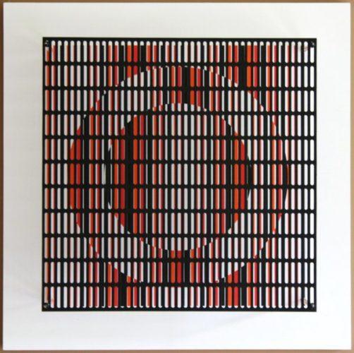 Vibration Cercles Noir, Orange Et Rouge by Antonio Asis
