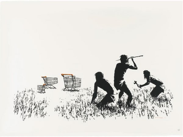 Trolleys (black And White) by Banksy