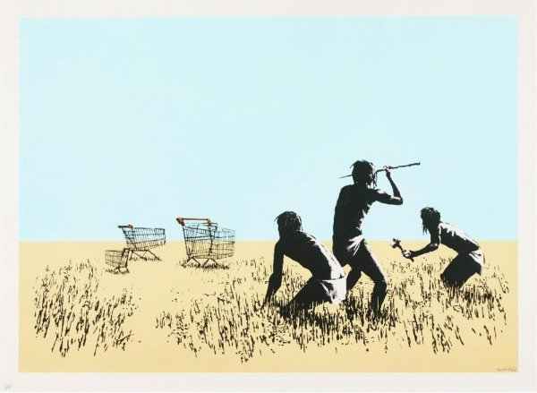 Trolleys (colour) by Banksy
