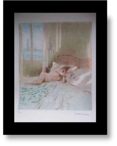 Nude Lying On A Bed. by Bernard Dunstan