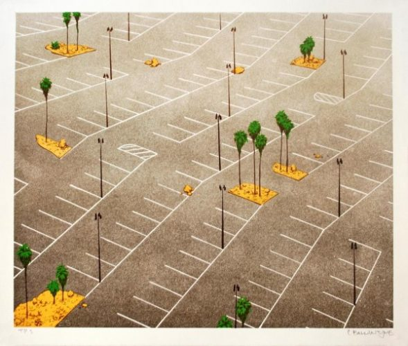 Parking Lot With Palm Trees by Chris Ballantyne