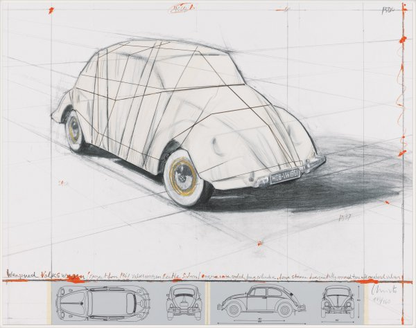 Wrapped Volkswagen (project For 1961 Volkswagen) by Christo at
