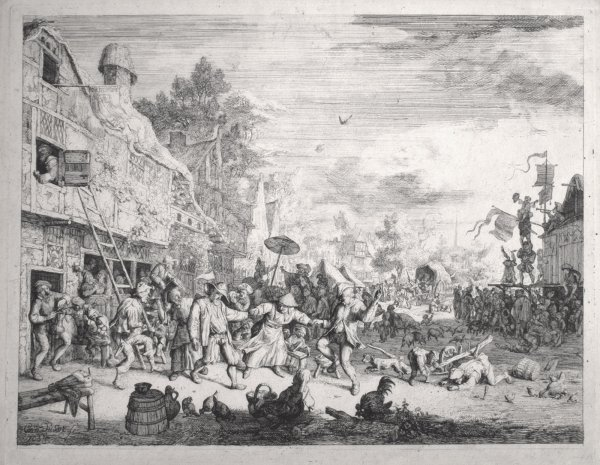 The Large Village Fair by Cornelis Dusart at