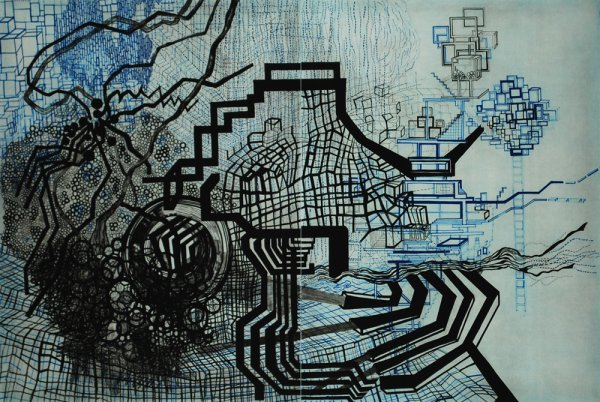 Untitled #5 (blue, Black) by Diana Cooper