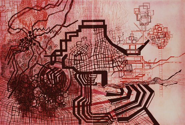 Untitled #7 (maroon, Red, Orange) by Diana Cooper at