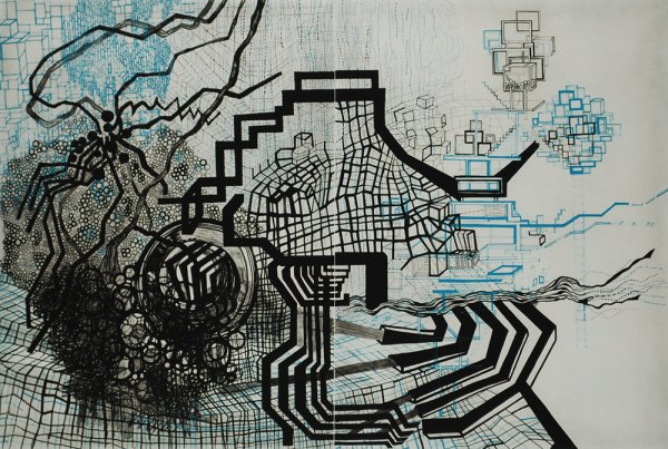 Untitled #8 (teal, Black) by Diana Cooper at