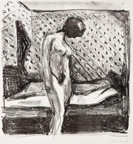 Gråtende Ung Kvinne Ved Sengen by Edvard Munch