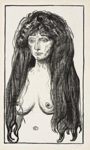 Kvinne Med Rødt Hår Og Grønne øyne.  Synden (woman by Edvard Munch