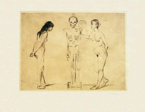 Kvinnene Ved Skjelettet (the Women And The Sk by Edvard Munch